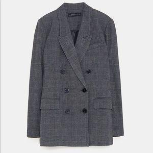 Zara Grey Plaid Blazer
